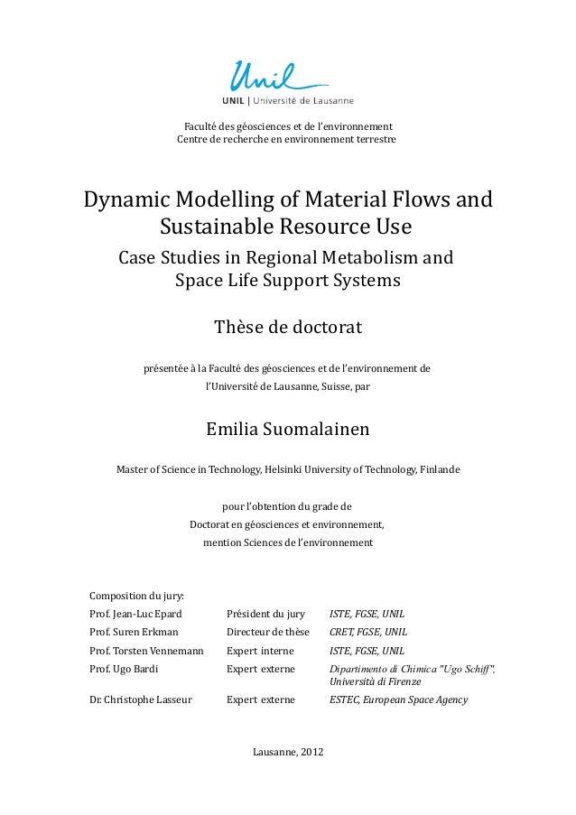 Faculté des géosciences et de l'environnementCentre de recherche en environnement terrestreDynamic Modelling of Material F...