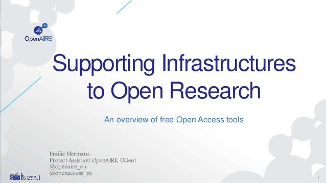Supporting Infrastructures to Open Research An overview of free Open Access tools Emilie Hermans Project Assistant OpenAIR...