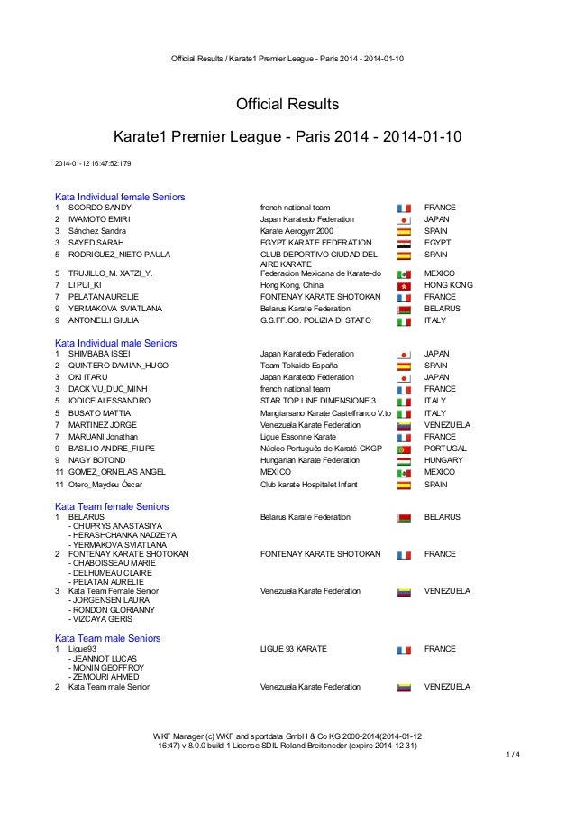 Official Results / Karate1 Premier League - Paris 2014 - 2014-01-10  Official Results Karate1 Premier League - Paris 2014 ...
