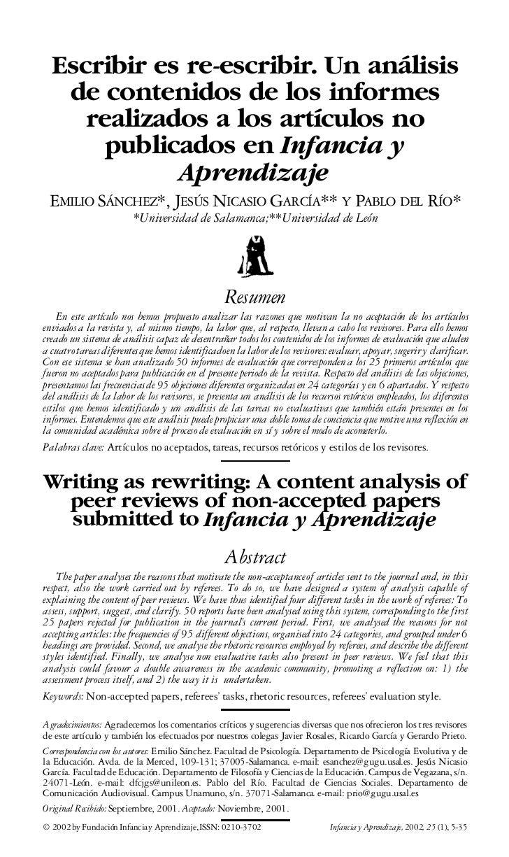 Escribir es re-escribir. Un análisis   de contenidos de los informes     realizados a los artículos no      publicados en ...
