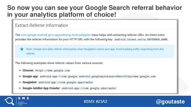 #SMX #23A2 @goutaste So now you can see your Google Search referral behavior in your analytics platform of choice!