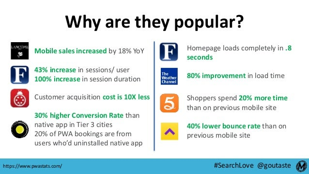 #SearchLove @goutaste Why are they popular? Mobile sales increased by 18% YoY 43% increase in sessions/ user 100% increase...