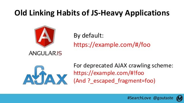 #SearchLove @goutaste Old Linking Habits of JS-Heavy Applications By default: https://example.com/#/foo For deprecated AJA...