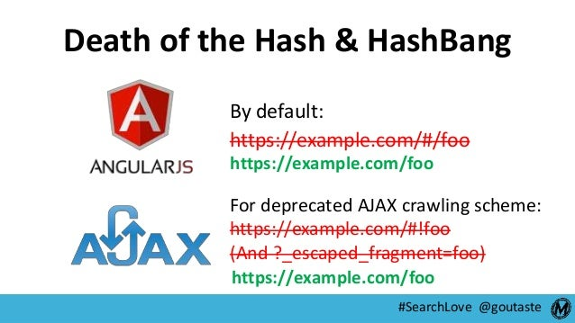 #SearchLove @goutaste Death of the Hash & HashBang By default: https://example.com/#/foo For deprecated AJAX crawling sche...