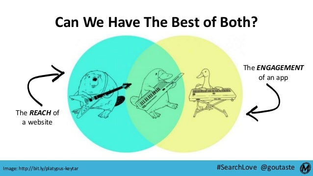 #SearchLove @goutaste Can We Have The Best of Both? The REACH of a website The ENGAGEMENT of an app Image: http://bit.ly/p...