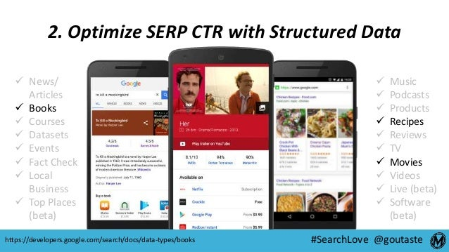 #SearchLove @goutaste 2. Optimize SERP CTR with Structured Data https://developers.google.com/search/docs/data-types/books...