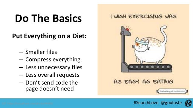 #SearchLove @goutaste Do The Basics Put Everything on a Diet: – Smaller files – Compress everything – Less unnecessary fil...