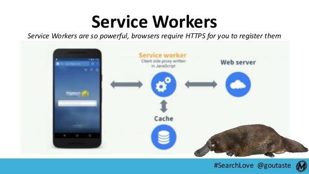 #SearchLove @goutaste Service Workers Service Workers are so powerful, browsers require HTTPS for you to register them
