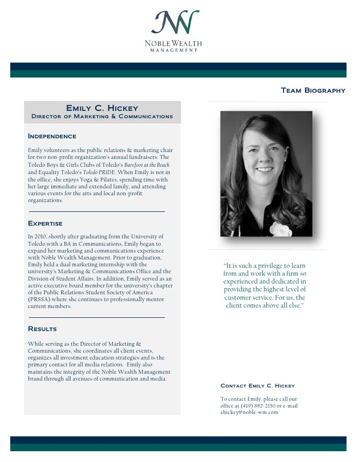 Team Biography               Emily C. Hickey Director of Marketing & CommunicationsIndependenceEmily volunteers as the pub...