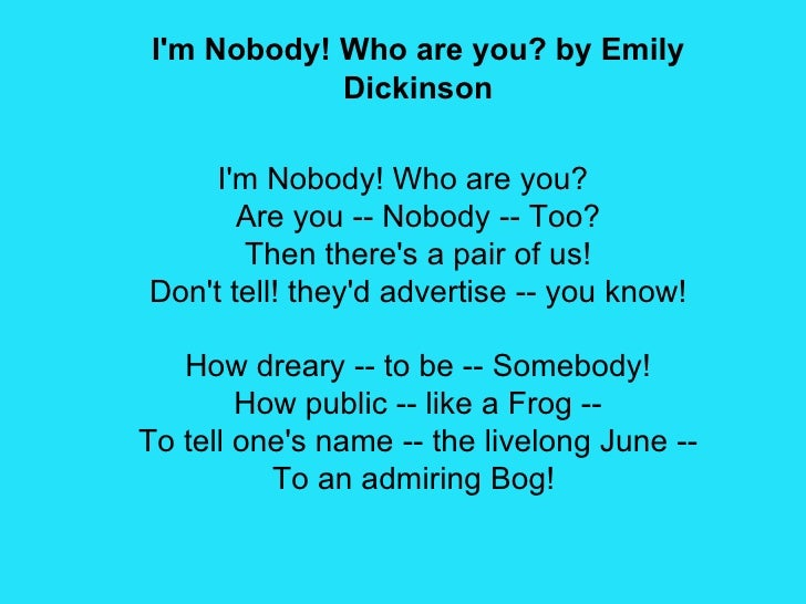 emily dickinson i m nobody who are you