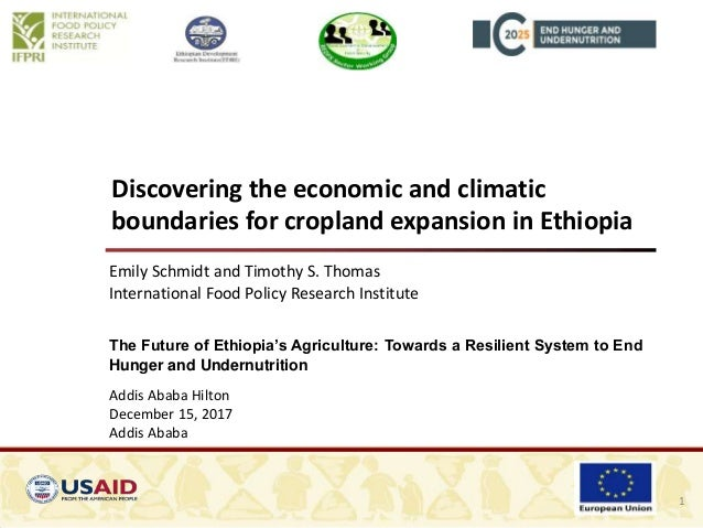 Discovering the economic and climatic boundaries for cropland expansion in Ethiopia Emily Schmidt and Timothy S. Thomas In...