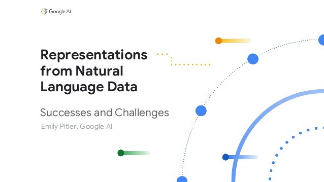 Successes and Challenges Emily Pitler, Google AI Representations from Natural Language Data