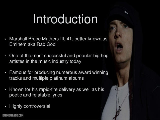 an introduction to the life of marshall bruce mathers iii Eminem family: siblings, parents, children,wife does he have siblings he is focused on his career, but what is about his family life eminem real name is marshall bruce mathers iii.