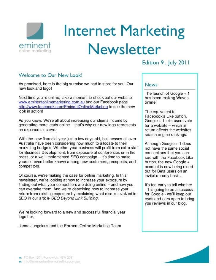 Internet Marketing                              Newsletter                                                                ...