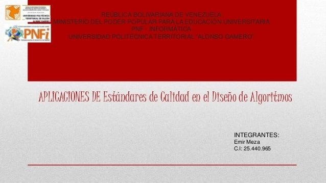 REÚBLICA BOLIVARIANA DE VENEZUELA MINISTERIO DEL PODER POPULAR PARA LA EDUCACIÓN UNIVERSITARIA PNF - INFORMÁTICA UNIVERSID...