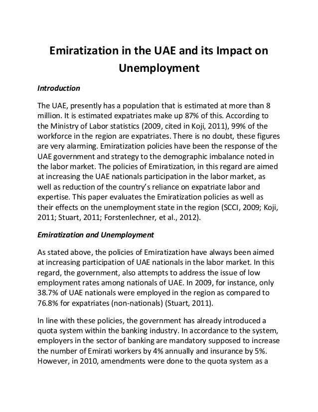 Emiratization in the uae and its impact on unemployment