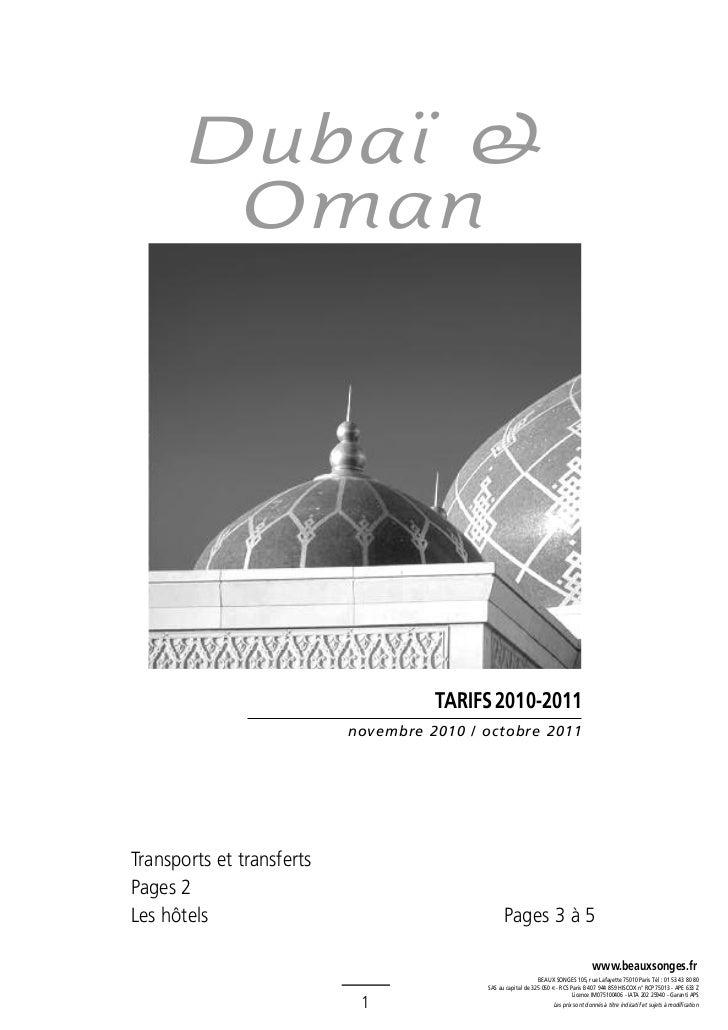 Dubaï &        Oman                                     TARIFS 2010-2011                           novembre 2010 / octobre...