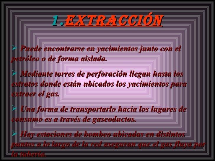 <ul><li>extracción </li></ul><ul><li>Puede encontrarse en yacimientos junto con el petróleo o de forma aislada. </li></ul>...