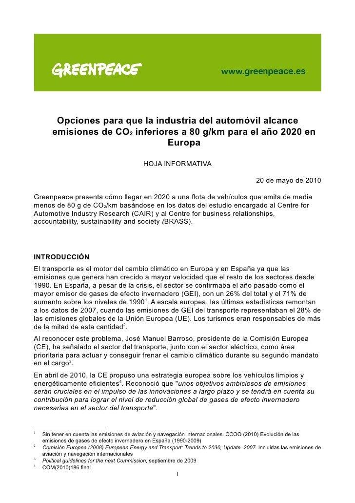 Opciones para que la industria del automóvil alcance        emisiones de CO2 inferiores a 80 g/km para el año 2020 en     ...