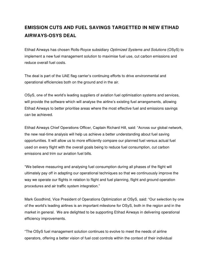 Emission Cuts And Fuel Savings At Etihad Airways