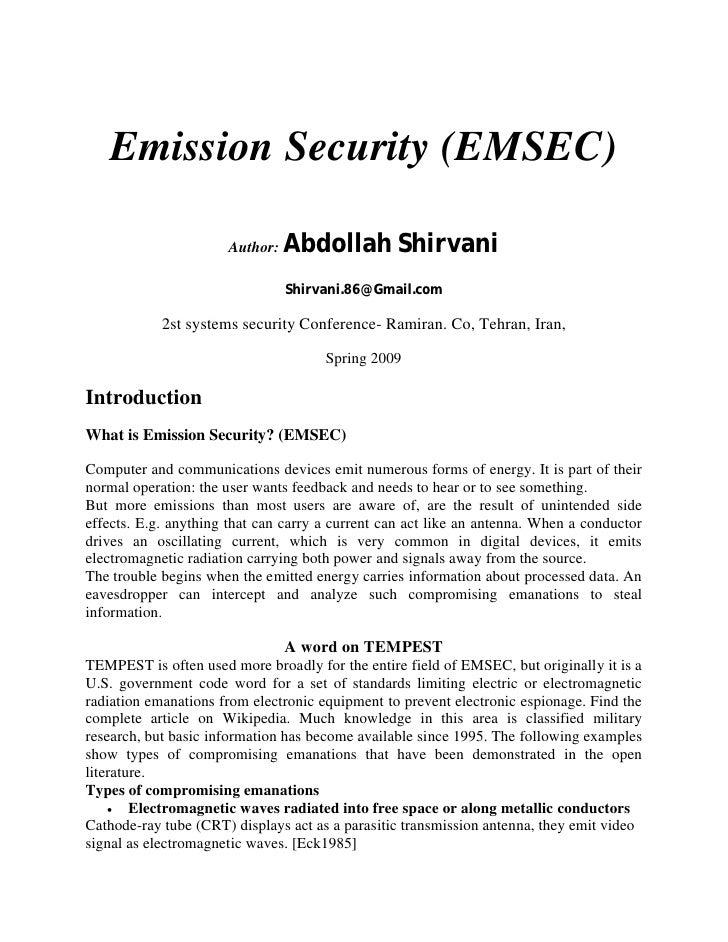 Emission Security (EMSEC)                        Author:   Abdollah Shirvani                                 Shirvani.86@G...