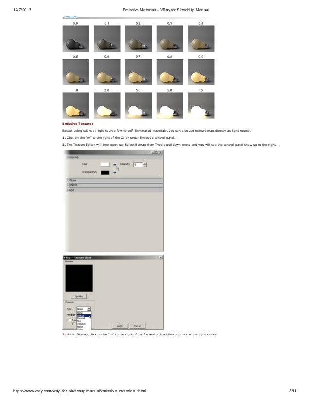 Emissive materials v ray for sketch-up manual