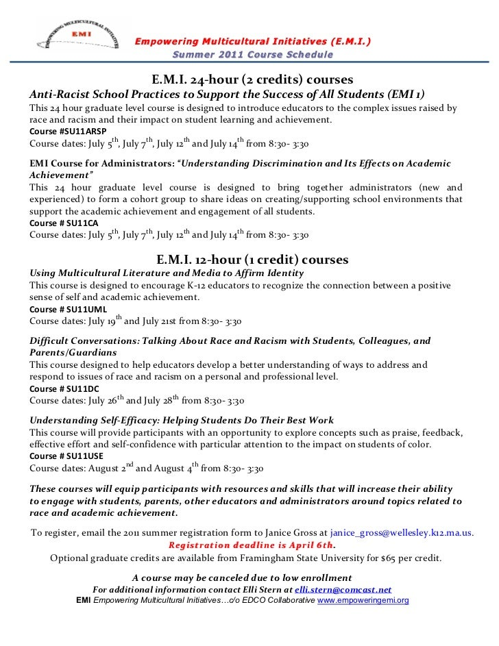 Empowering Multicultural Initiatives (E.M.I.)                                          Summer 2011 Course Schedule        ...