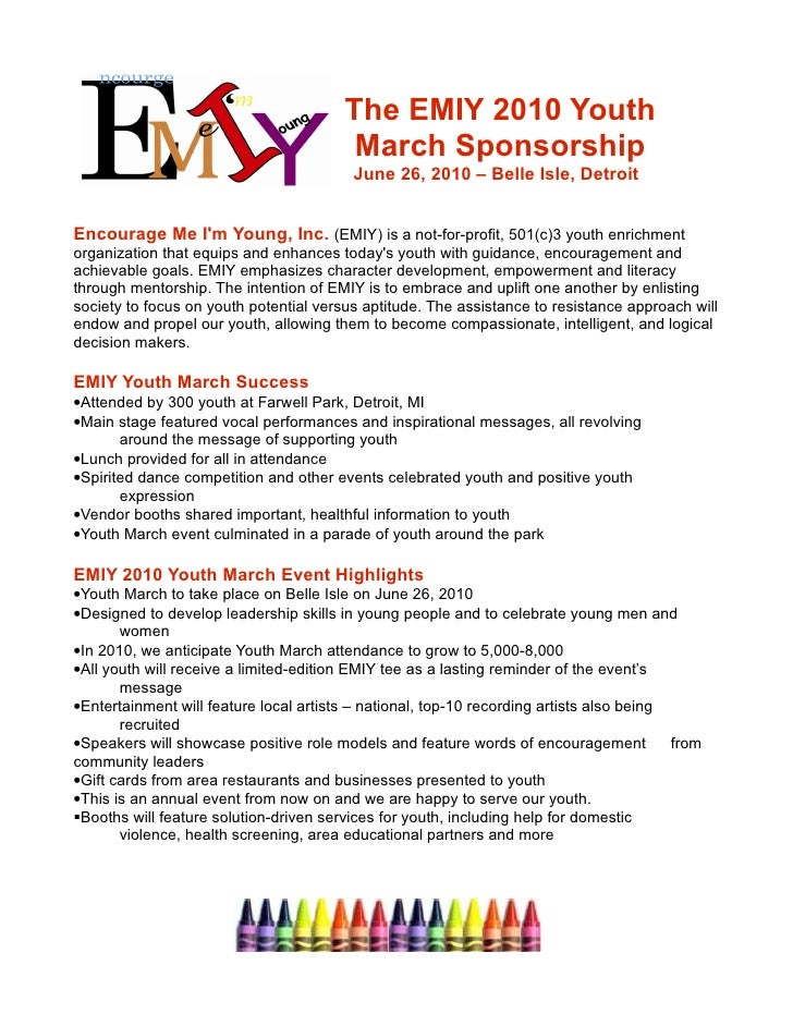 The EMIY 2010 Youth                                          March Sponsorship                                          Ju...