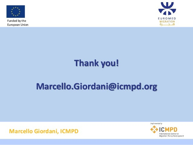 Thank you! Marcello.Giordani@icmpd.org Marcello Giordani, ICMPD Funded by the European Union