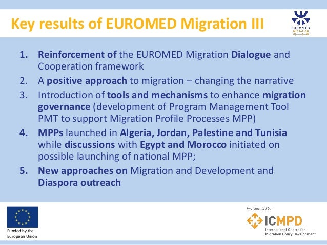 Key results of EUROMED Migration III Funded by the European Union 1. Reinforcement of the EUROMED Migration Dialogue and C...