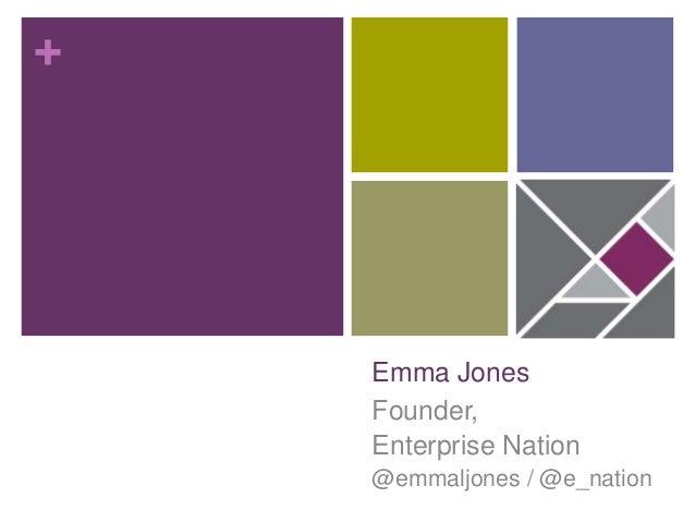+ Emma Jones Founder, Enterprise Nation @emmaljones / @e_nation
