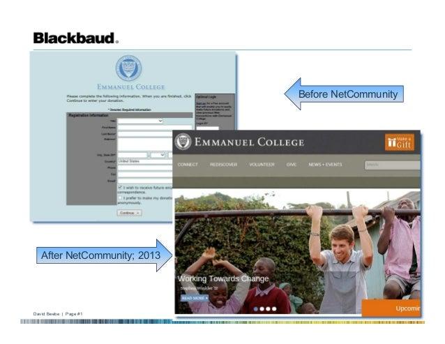 David Beebe | Page #1 © 2009 Blackbaud Nationals' BBNC Tour of Sites community.liu.edu Before NetCommunity After NetCommun...