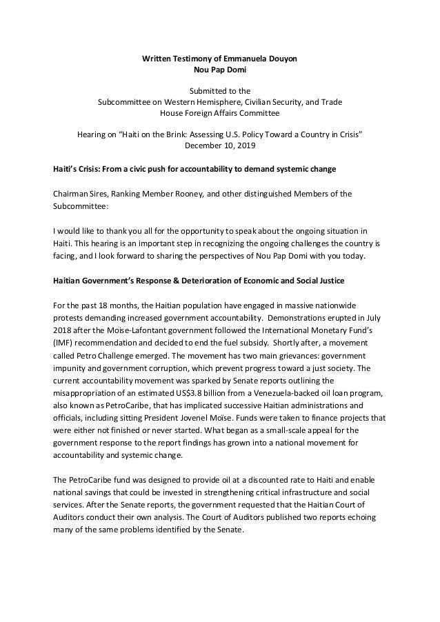 Written Testimony of Emmanuela Douyon Nou Pap Domi Submitted to the Subcommittee on Western Hemisphere, Civilian Security,...
