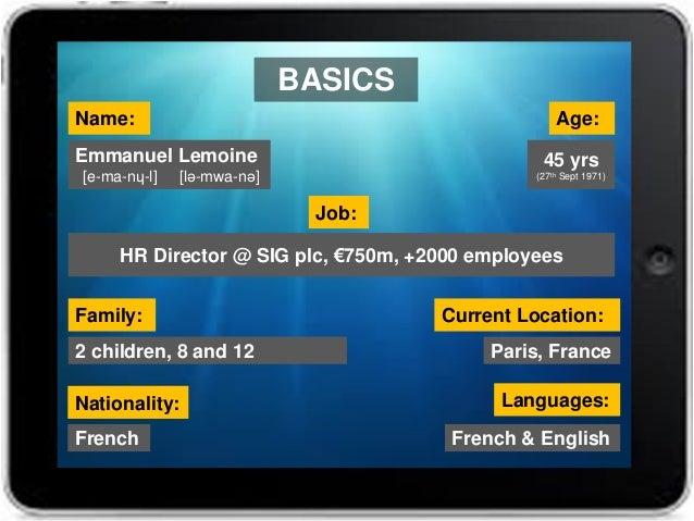 Name: Age: Emmanuel Lemoine [e-ma-nɥ-l] [lə-mwa-nə] Current Location: Paris, France Nationality: Languages: French & Engli...