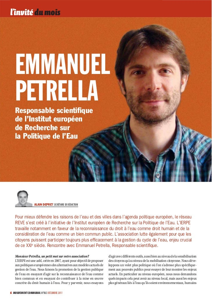 l'invité du mois   EMMANUEL   PETRELLA   Responsable scientifique   de l'Institut européen   de Recherche sur   la Politiqu...