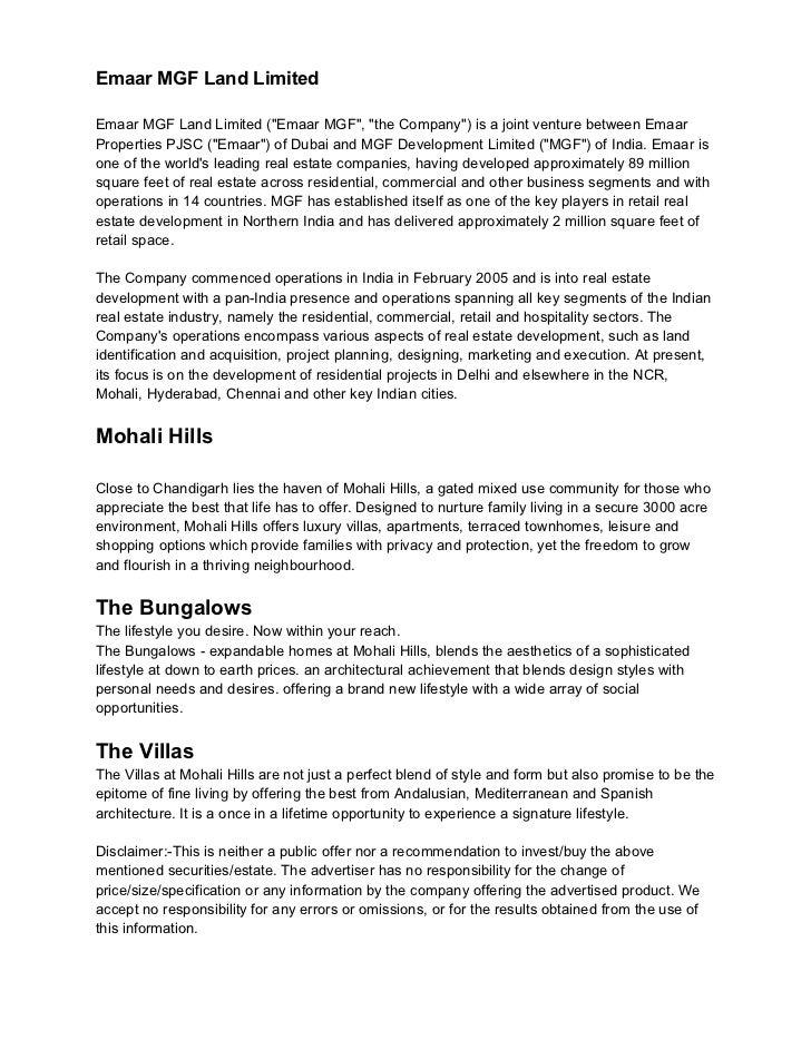 """Emaar MGF Land LimitedEmaar MGF Land Limited (""""Emaar MGF"""", """"the Company"""") is a joint venture between EmaarProperties PJSC ..."""