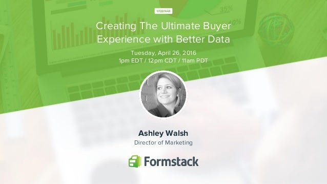 Creating The Ultimate Buyer Experience with Better Data Ashley Walsh Director of Marketing Tuesday, April 26, 2016 1pm EDT...