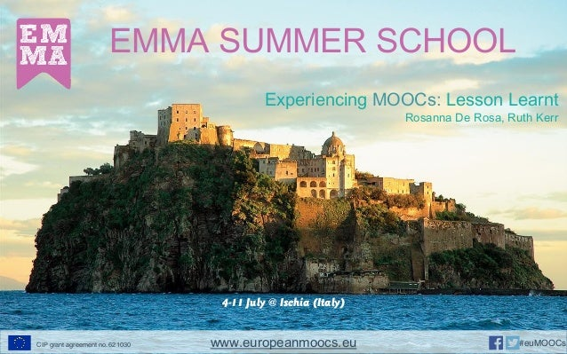 EMMA SUMMER SCHOOL 4-11 July @ Ischia (Italy) Experiencing MOOCs: Lesson Learnt Rosanna De Rosa, Ruth Kerr www.europeanmoo...