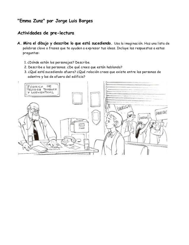 """""""Emma Zunz"""" por Jorge Luis BorgesActividades de pre-lecturaA. Mira el dibujo y describe lo que está sucediendo. Usa la ima..."""
