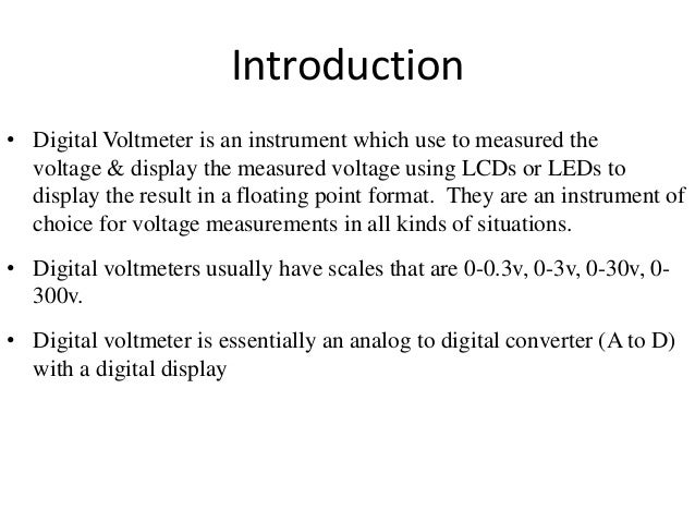 Concept Of Voltmeter : Concept of digital measurement block diagram study