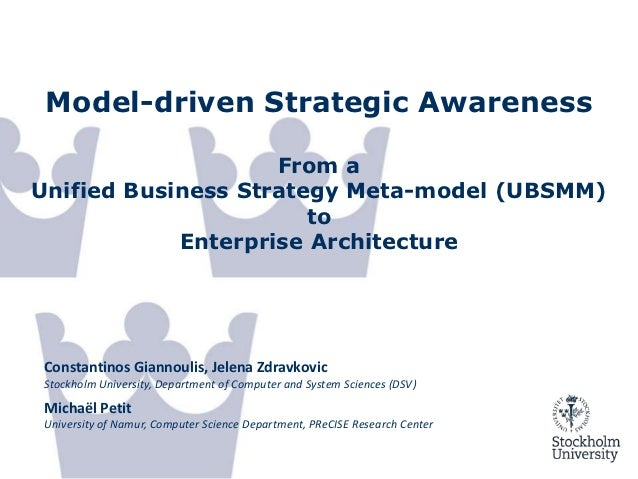 Model-driven Strategic Awareness                    From aUnified Business Strategy Meta-model (UBSMM)                    ...