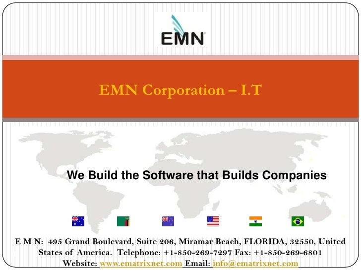 EMN Corporation – I.T            We Build the Software that Builds Companies               We Build The Software that Buil...