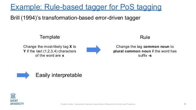 Fréderic Godin - Explaining Character-Aware Neural Networks for Word-Level Prediction Example: Rule-based tagger for PoS t...
