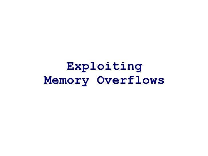 ExploitingMemory Overflows