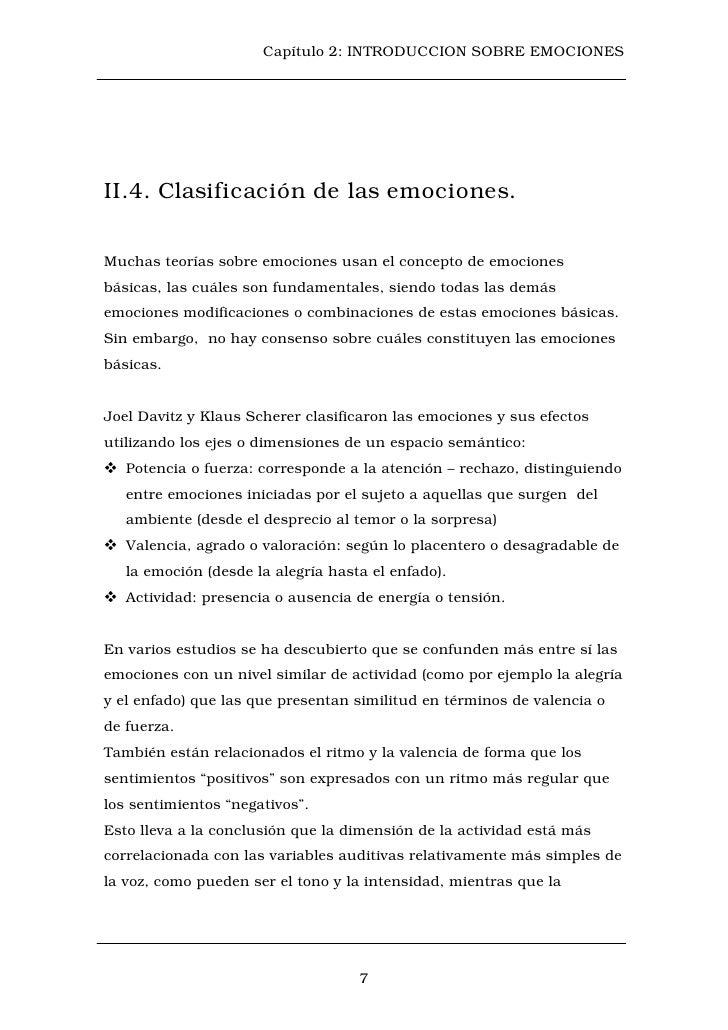 Capítulo 2: INTRODUCCION SOBRE EMOCIONESII.4. Clasificación de las emociones.Muchas teorías sobre emociones usan el concep...