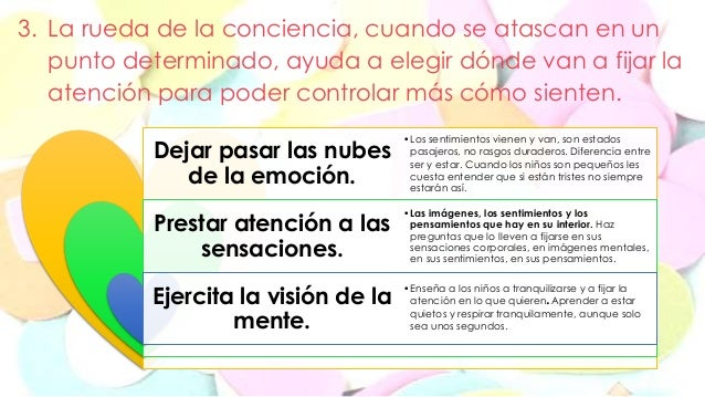 3. La rueda de la conciencia, cuando se atascan en un  punto determinado, ayuda a elegir dónde van a fijar la  atención pa...
