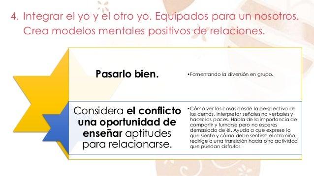 4. Integrar el yo y el otro yo. Equipados para un nosotros.  Crea modelos mentales positivos de relaciones.  Pasarlo bien....
