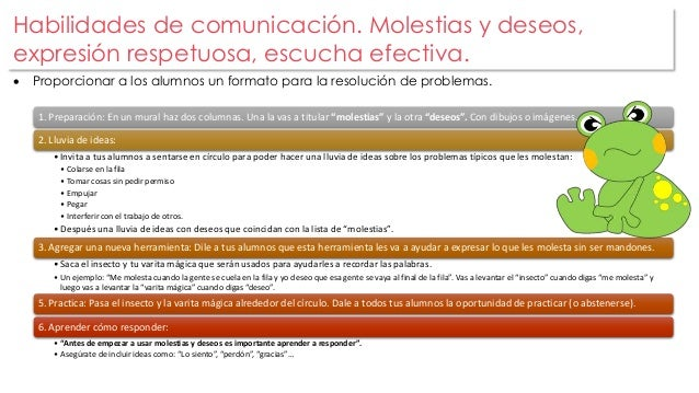 Habilidades de comunicación. Molestias y deseos,  expresión respetuosa, escucha efectiva.   Proporcionar a los alumnos un...