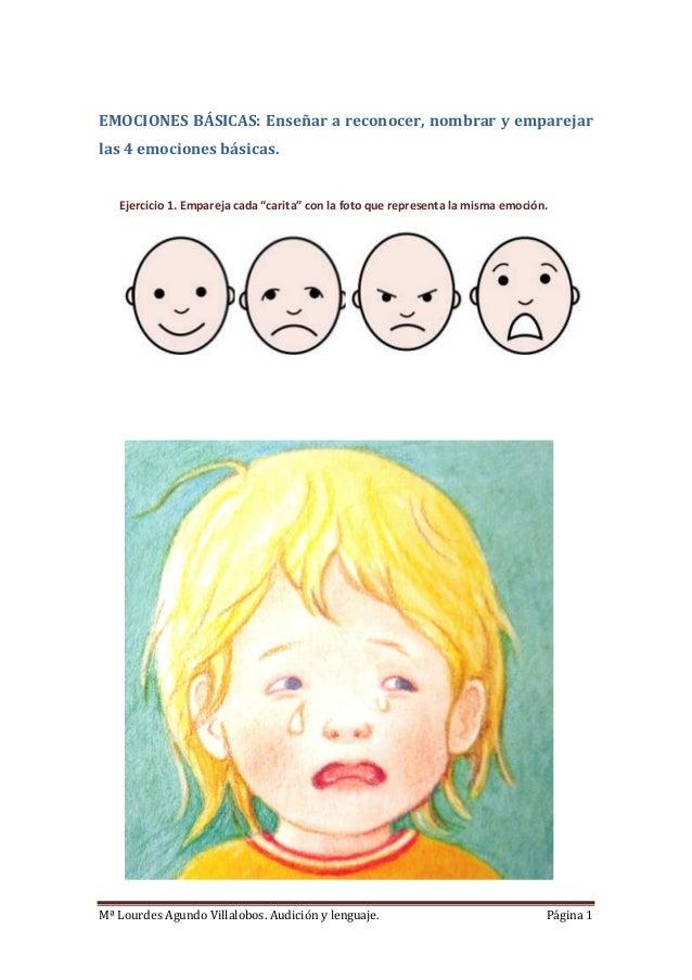 Mª Lourdes Agundo Villalobos. Audición y lenguaje. Página 1EMOCIONES BÁSICAS: Enseñar a reconocer, nombrar y emparejarlas ...
