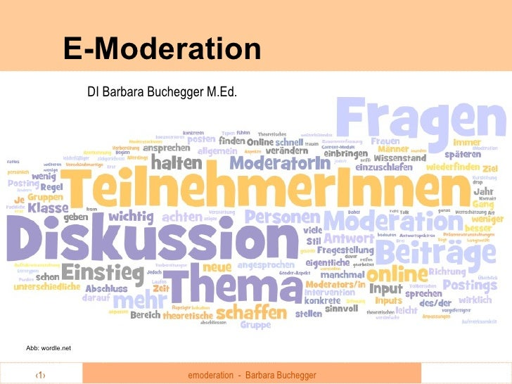 E-Moderation DI Barbara Buchegger M.Ed. Abb: wordle.net